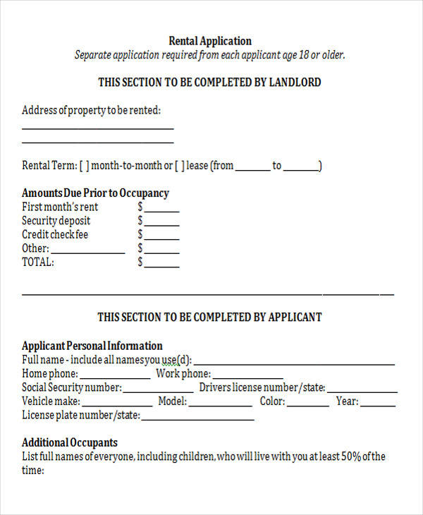 rental housing application form