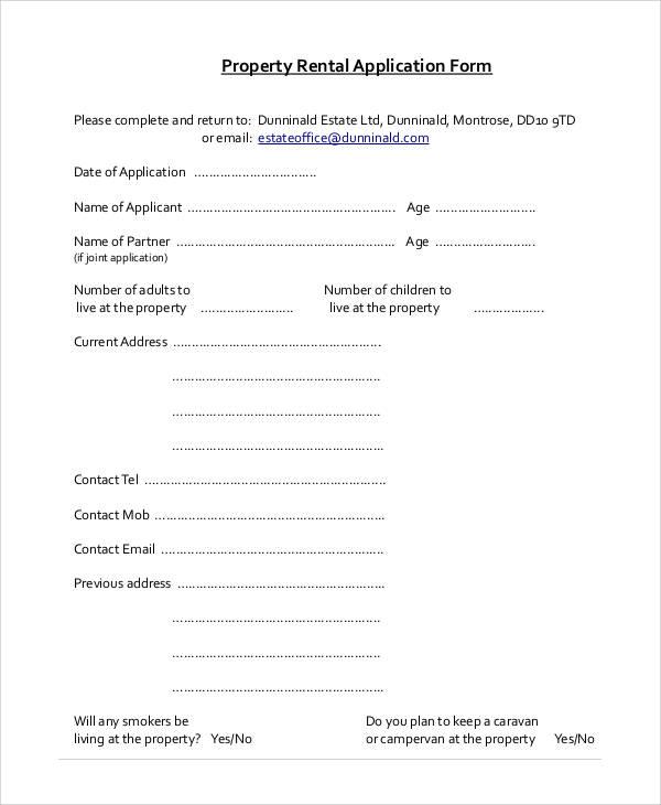 rental property application form1