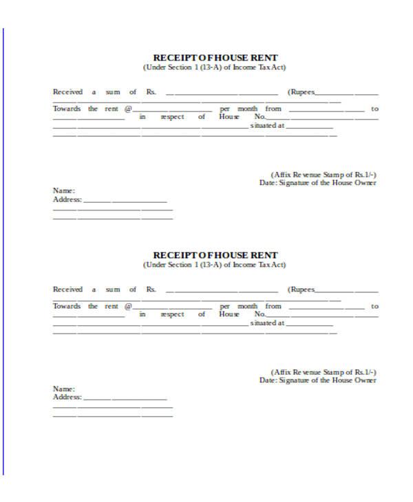 rental property payment receipt