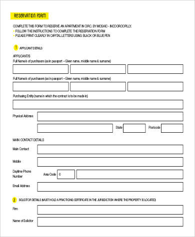 rental property reservation form