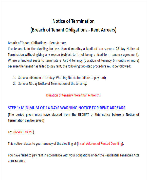 rental termination notice form