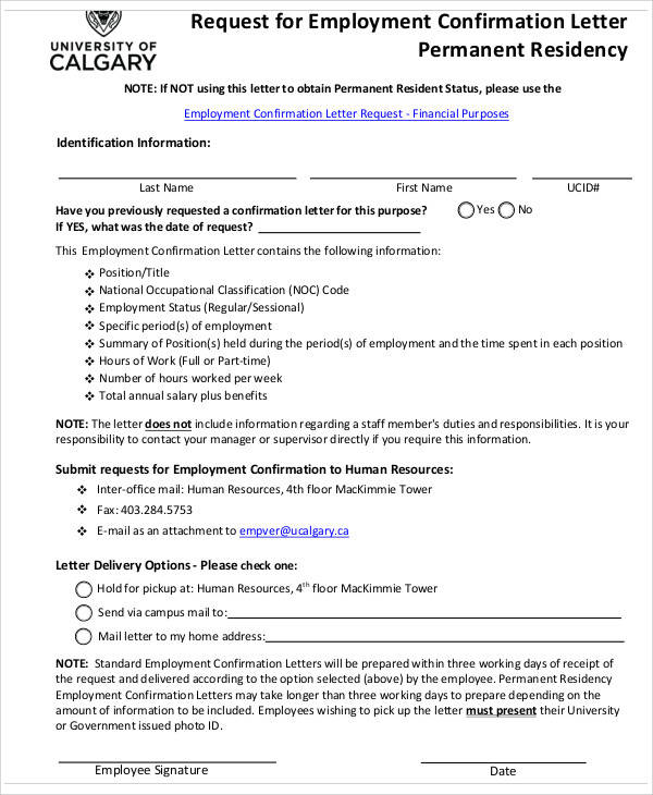 request for confirmation for employment letter