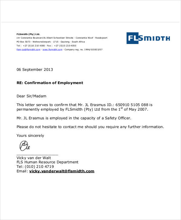 Employment letters sample confirmation of employment letters request for confirmation of employment letter altavistaventures