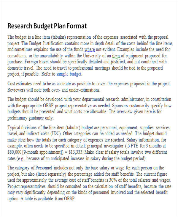 research budget plan format