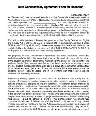 Research Data Confidentiality Agreement