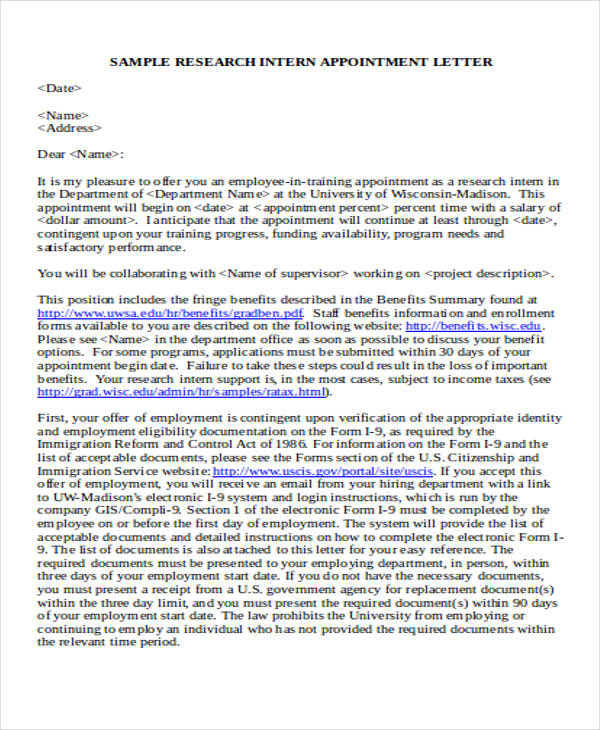 research intern appointment letter3