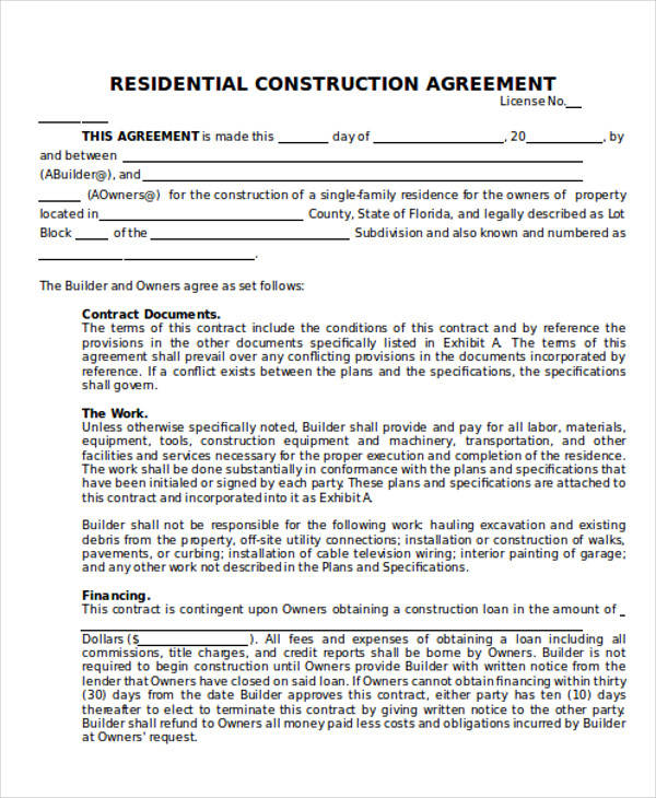 25 construction agreement forms templates sample templates for Home builder contracts