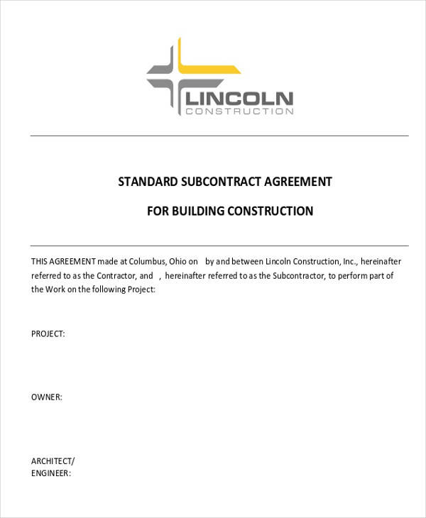 residential construction subcontractor agreement