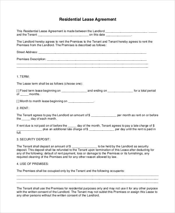 Agreement Form Sample