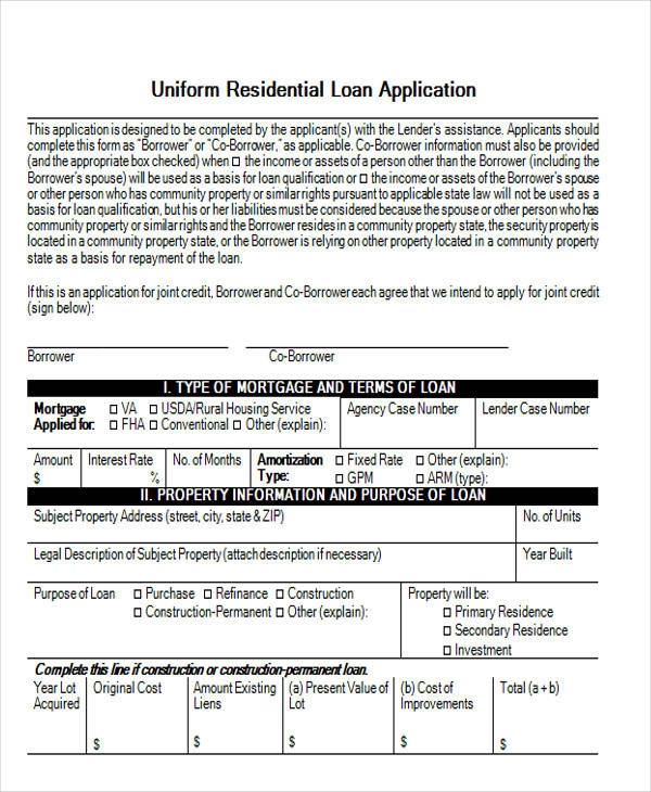residential loan application form1