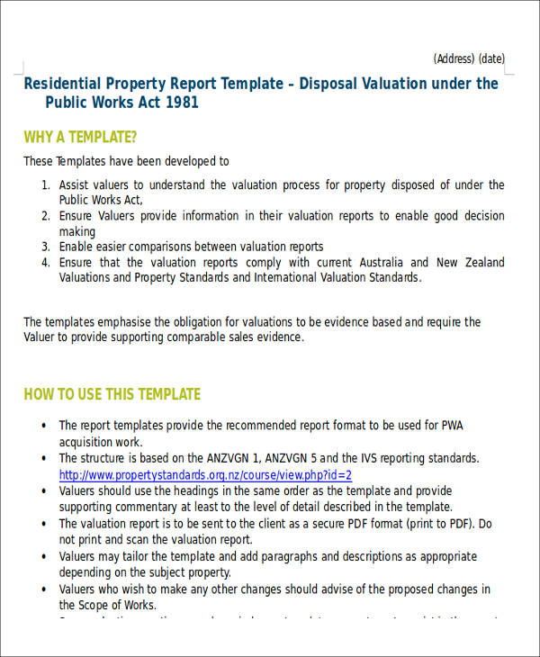 Sample Property Valuation Report   Examples In Word Pdf