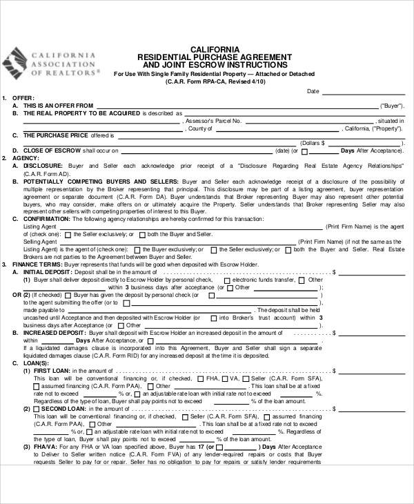 residential purchase agreement1