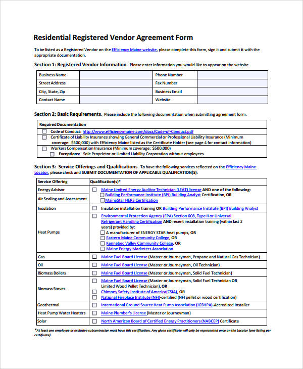 residential registered vendor agreement form