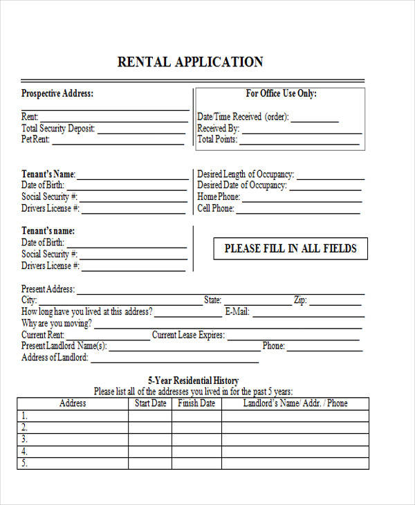 residential rental application form1