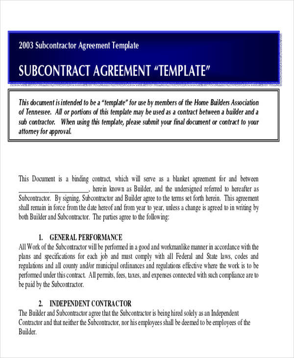 Subcontract Agreement Template
