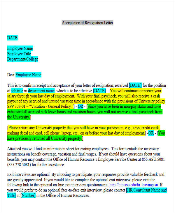 Resigned Acceptance Letter