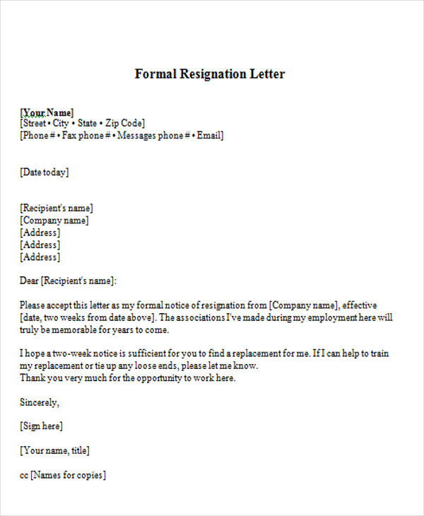 short resignation letter 65 sample resignation letters 12448 | Resignation Formal Letter Format1