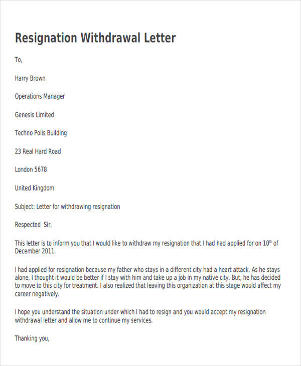 34 sample resignation letter templates sample templates resignation withdrawal acceptance letter spiritdancerdesigns Images