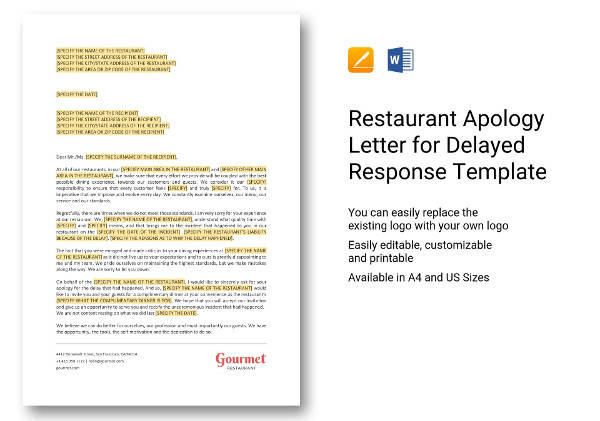 restaurant apology letter for delayed response