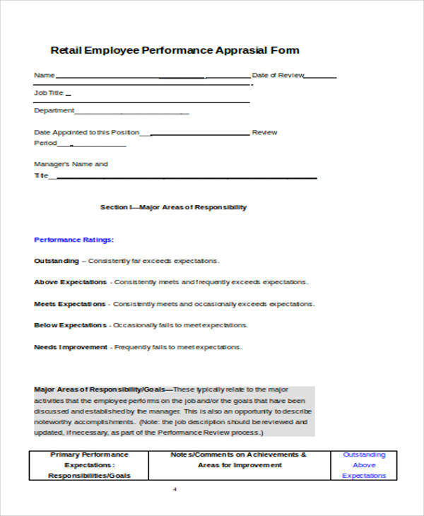Appraisal Form Examples