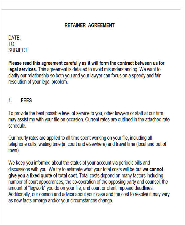 retainer fee agreement form
