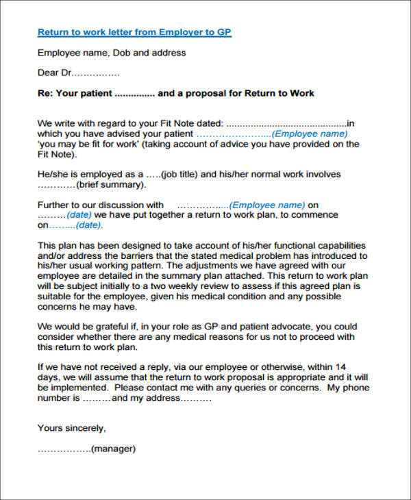 return to work letter from employer