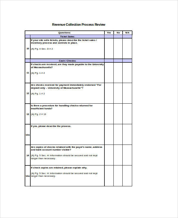 revenue collection questionnaire form