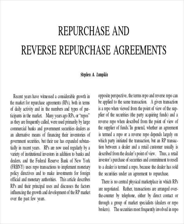 reverse repurchase agreement1