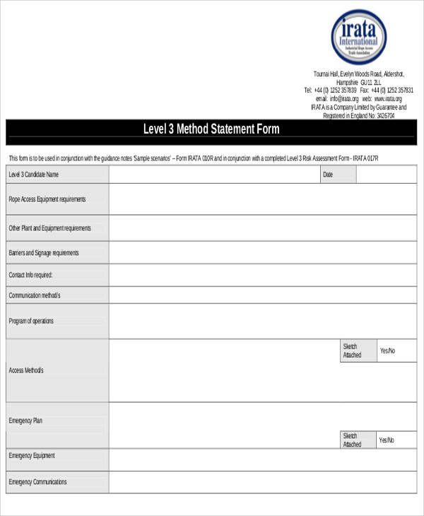 risk method statement form