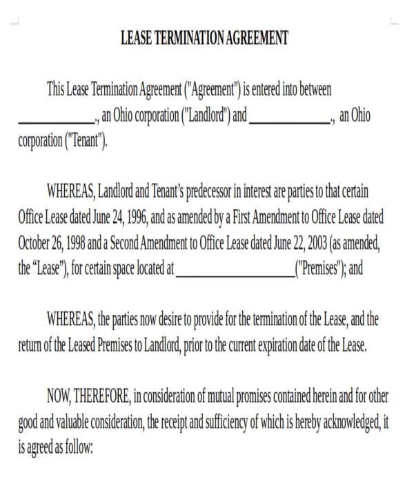 Rental Lease Termination Agreement Form. Mutual Lease Termination