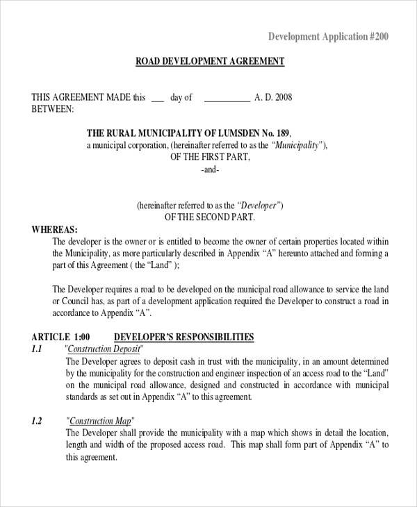 road development agreement