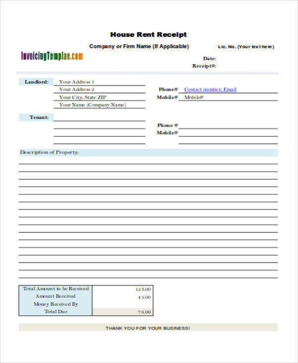39 Free Receipt Forms – Room Rental Receipt