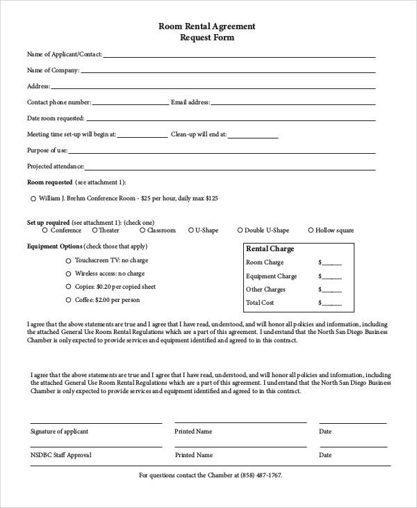 room rental agreement request form