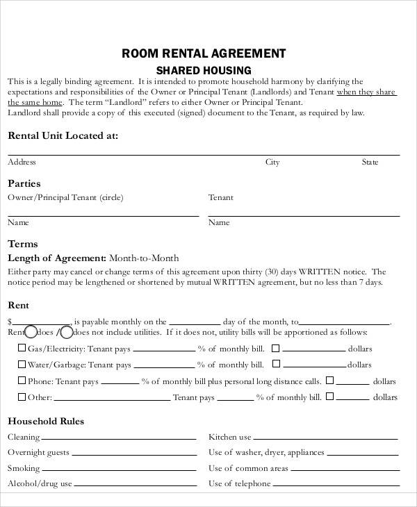 room rental agreement2