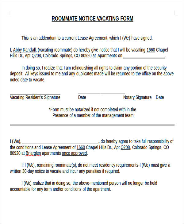 Sample Notice Form. Sample Separation Notice Template Sample