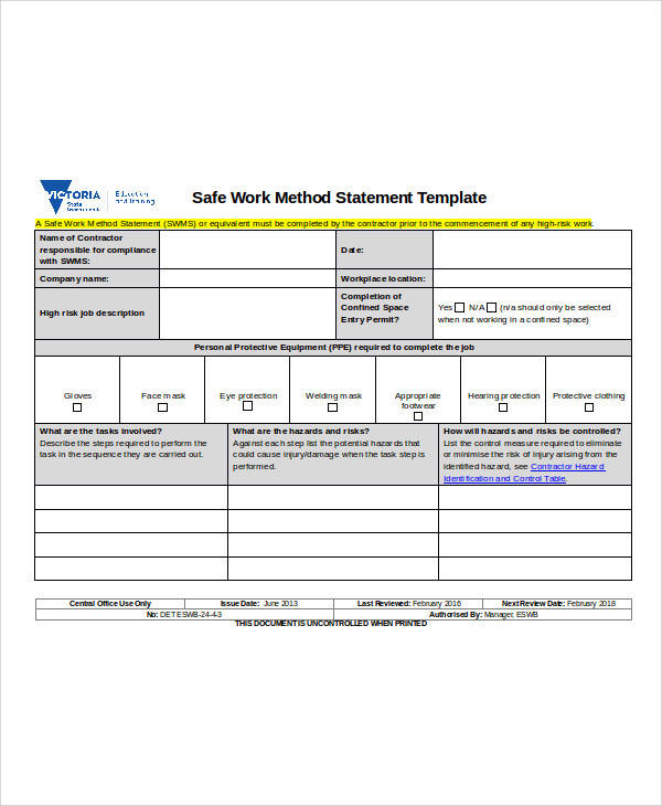 Sample Statement Forms In Doc