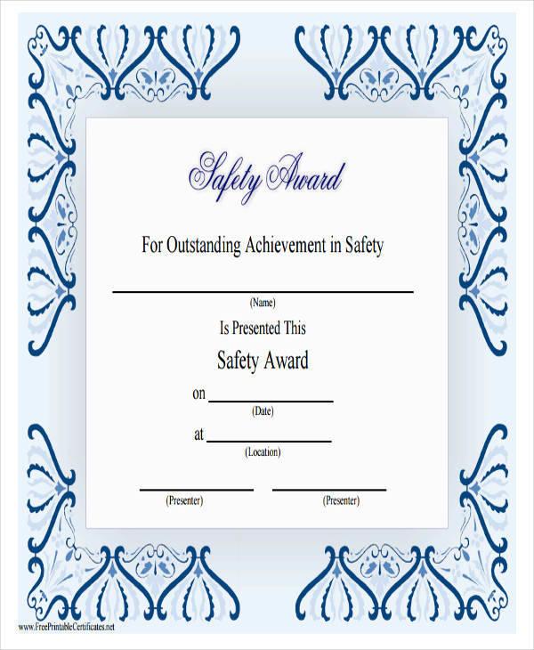 safety achievement award certificate1