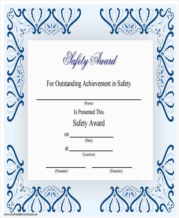 safety achievement award certificate2