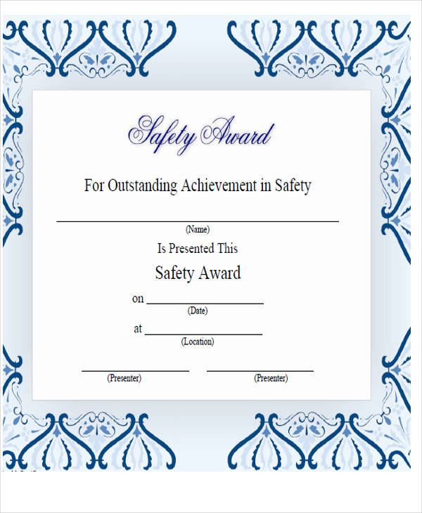 safety achievement award certificate