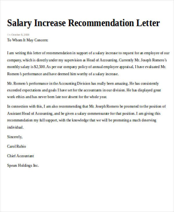 Good Salary Increase Recommendation Request Letter