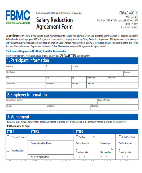 salary reduction agreement letter