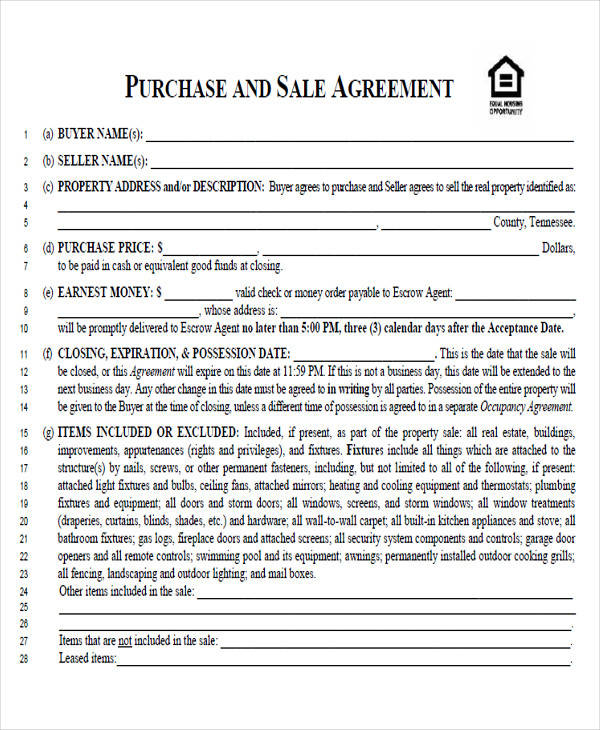 sale and purchase agreement form