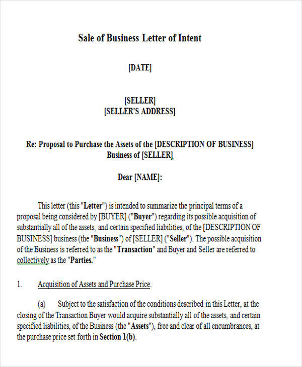 sale of business letter of intent1