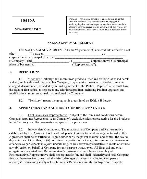 sales agency agreement2
