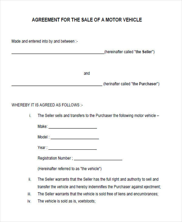 sales agreement form for vehicle