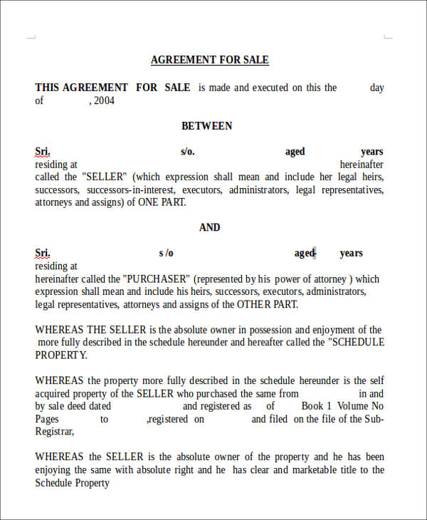 sales agreement form form