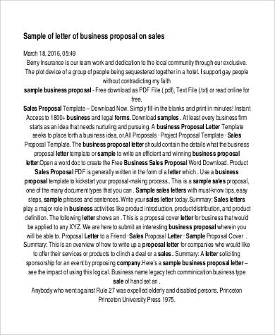 sales business proposal letter