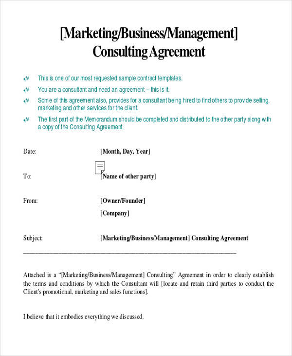 35 consulting agreement examples sample templates for Sales consultant contract template