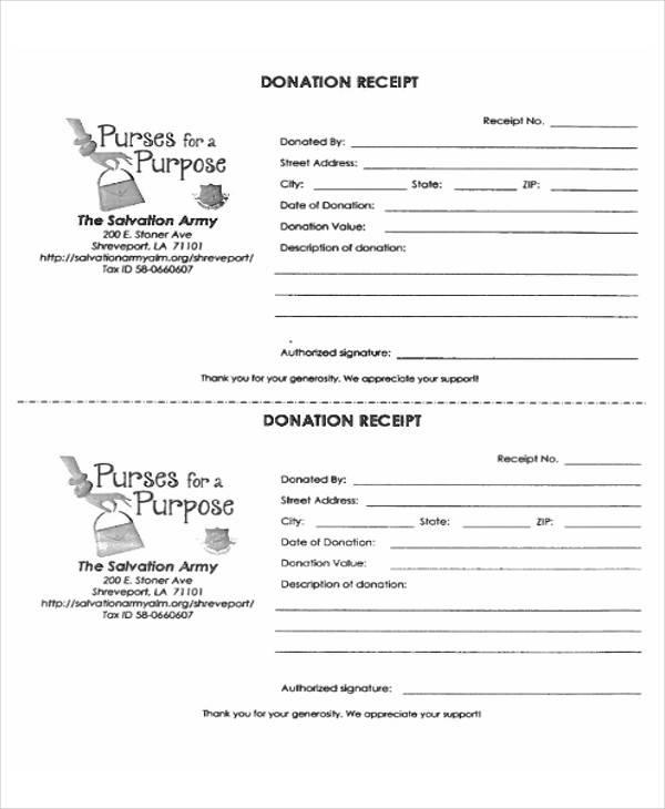 salvation army donation receipt form