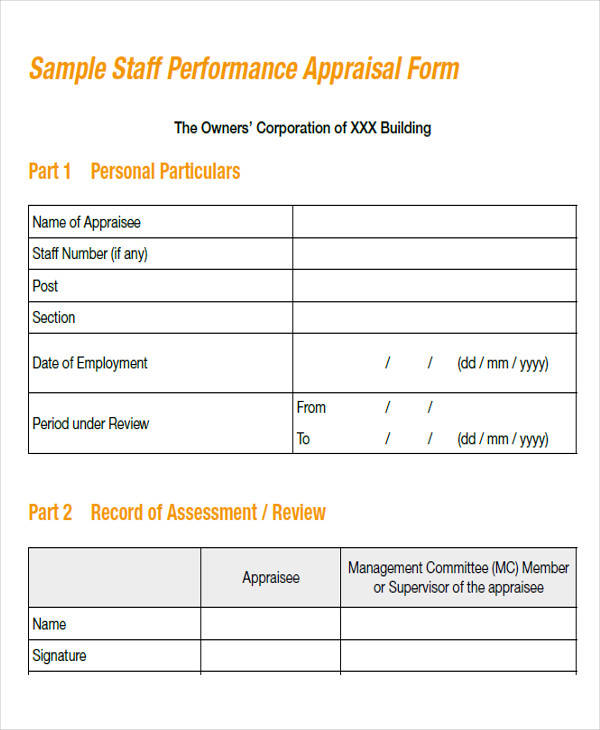 sample accounting appraisal form
